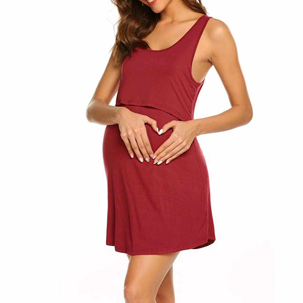 נשים בהריון יולדות סיעוד הנקה קיץ ללא שרוולים שמלה מוצקה