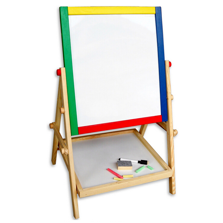 Practical Kids Wooden Double Sided Easel Blackboard Chalk Board Drawing Board, Best for kids rooms