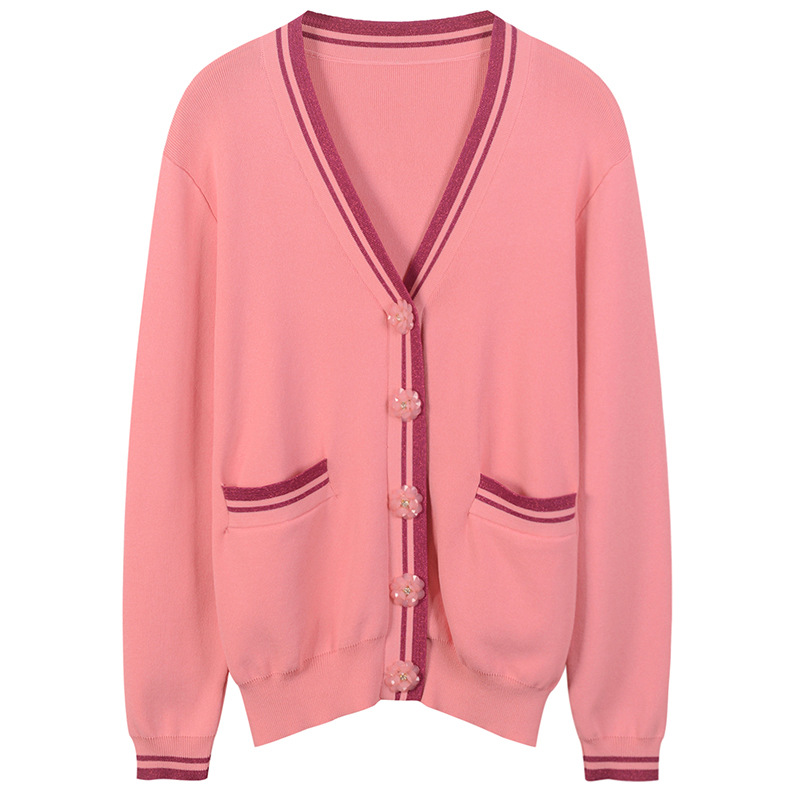 SRUILEE Design Flower Buttons Outwear High Quality 2018 New Autumn Coat Women Cardigans Sparkle Knit Top Runway Jaqueta Feminina