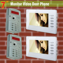 """2 identificación Camera 2 Monitor de 7 """" LCD y vídeo portero portero automático timbre ID contraseña de desbloqueo del intercomunicador del timbre de control de acceso"""