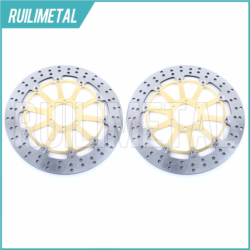 Pair Front Brake Discs Rotors for RSV 1000 Mille Version R FACTORY SP SL 1000 FALCO TUONO 1000 FIGHTER R RACING 2004 2005 04 05 billet short folding brake clutch levers for aprilia dorsoduro 750 1200 fighter tuono 1000 rsv 1000 r mille sl1000 falco etv1200