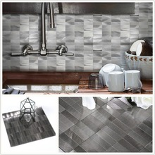 Wholesale 4 Sheets Alloy Nordic Peel and Stick Wall Tiles Backsplashes Waterproof 3D Metal Stickers for Decor 30X30cm