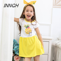 Age3 10 INNCH One Piece Cotton Girls Dress Pineapple Fruit Toddler Party Princess Drink Glasses Print