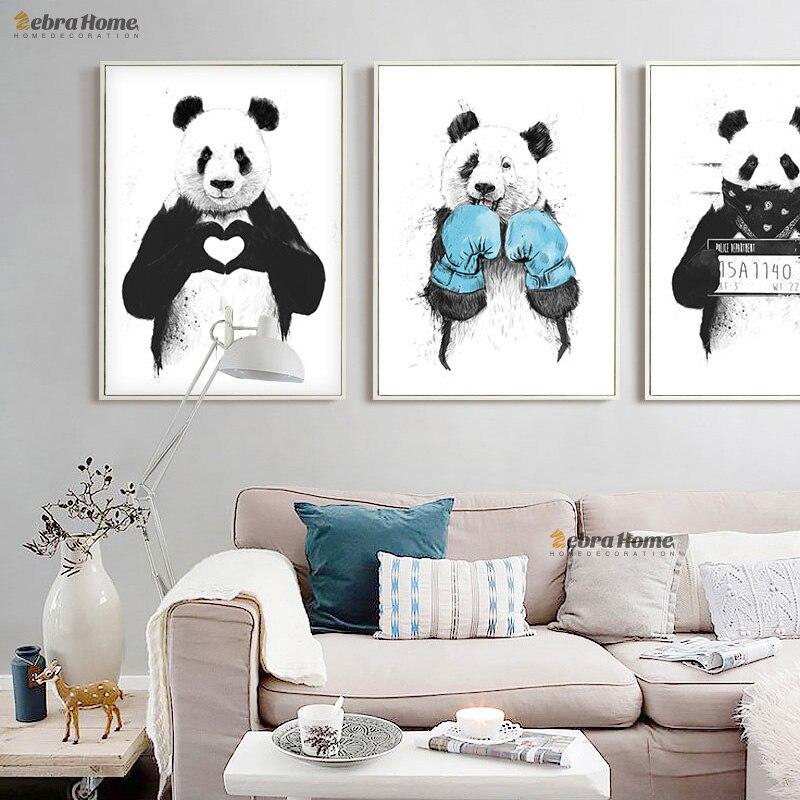 El Beraberlik Panda Kroki Tuval Sanat Baskı Poster Minimalist - Ev Dekoru - Fotoğraf 2