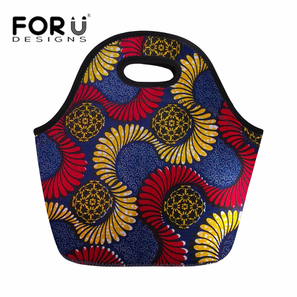 FORUDESIGNS Vintage African Traditional Print Lunch Bag For Women Portable Picnic Tote Handbag Children School Thermal Meal Bags