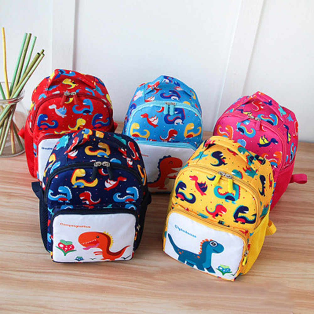 Dinosaur Printing Nylon Children Backpacks Kids Kindergarten School Bags Backpacks Baby Boys Girls Nursery Toddler Cute Rucksack