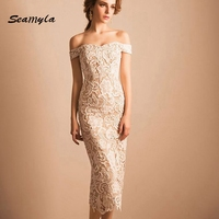 2017 New Fashion Black Beige Off Shoulder Lace Dress Women Sexy Evening Party Dresses Mid Calf