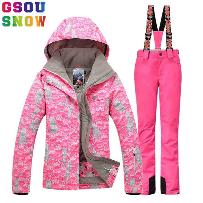GSOU SNOW Ski Suit Women Ski Jacket Pants Winter Outdoor Mountain Skiing Suit Female Snowboard Jacket Pants Ladies Sport Clothes gsou snow ski suit women skiing jacket snowboard pants winter waterproof outdoor cheap ski suit ladies sport clothing 2017 coat