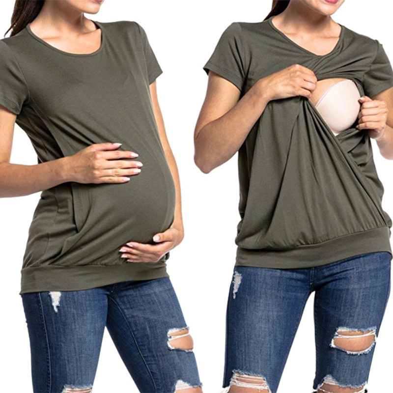 Short Sleeve Summer Maternity Nursing Tops Polyester Breastfeeding Solid Simple Clothes Easy To Feed Baby Can Be Worn Outside