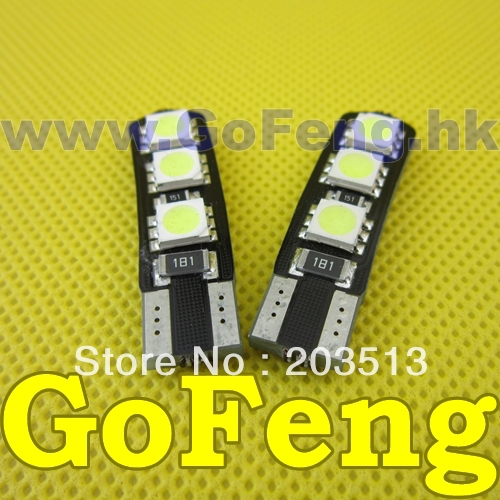 (20PCS/lot)Car led 194 w5w T10 6 smd led 5050 6smd canbus Error free led light bulbs lamp Free shipping