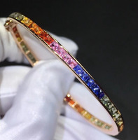 228 Fine Jewelry Real 18K Yellow Gold AU750 G18K 100% Natural Red Ruby Gemstones Love Jewellery Bangles for women Fine Bangles