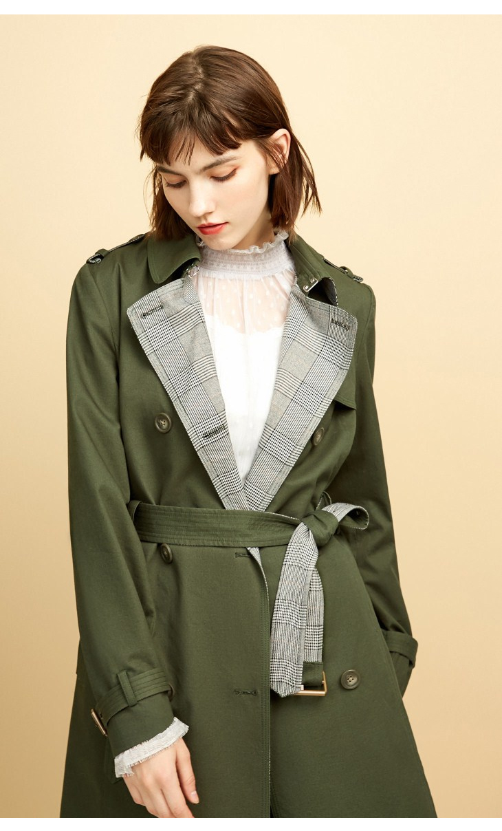 ONLY Women's Bi-tone Fabric Double-breasted Wind Coat 118336571 15
