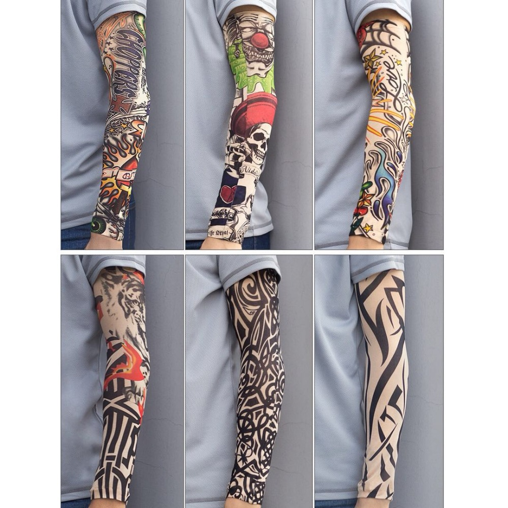Tattoo Arm sleeve Quick drying Breathable  Elastic Tight Personality Keep Warm Armband For Tennis and Halloween props
