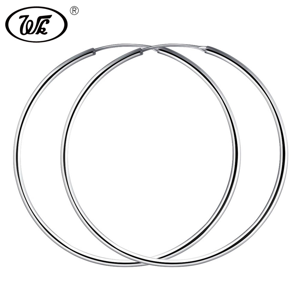 WK Women Silver Hoop Earrings Large Big Round Circle 925 Silver Hoops Creole Jewelry 25MM 40MM 50MM 55MM 60MM Dropshipping 2018 creole