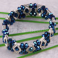 "Free Shipping Fashion Jewelry Dark blue Faceted Beads Stretch Crystal Bracelet 7""  1Pcs H701"