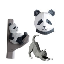 Creative Wall Decoration Animal Head Figurines Hanging Soft Decorative Panda Decorations Drop shipping