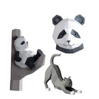 Creative Wall Decoration Animal Head Figurines Hanging Soft Decorative Panda Wall Hanging Decorations Drop shipping