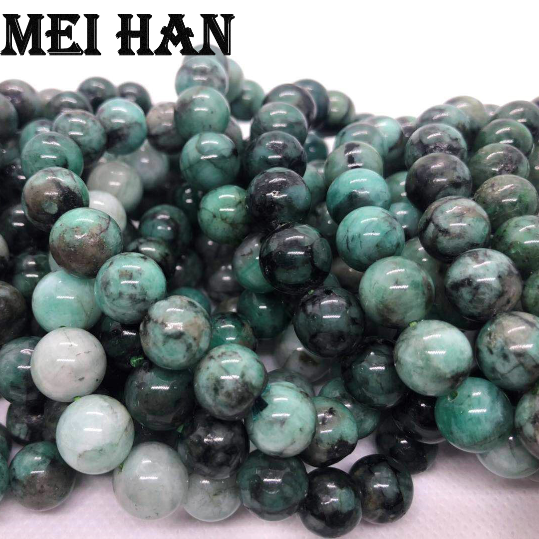 Meihan Free shipping 19beads set 28g natural 10 10 5m Emerald smooth round beads for jewerly