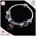 Very Popular 925 Solid Silver Charm Bracelet With Beautiful Purple Murano Charms and Cherry Flower Clip Charm