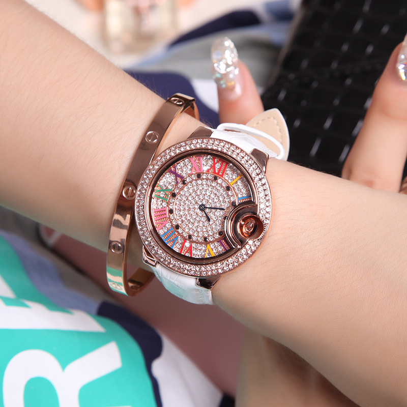 2018 Nueva Moda Rose gold Genuine Leather Geneva Quartz Ladies Watch - Relojes para mujeres