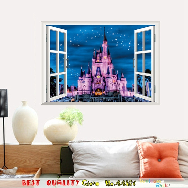 3d Window Castle Wall Stickers Home Decals Fairy Tale Decal Paper Craft Kids Room Decoration