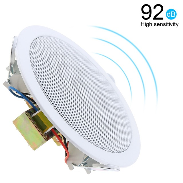 10W 5 Inch  Metal Microphone Input USB MP3 Player Ceiling Speaker Public Broadcast Music Speaker for Home / Supermarket