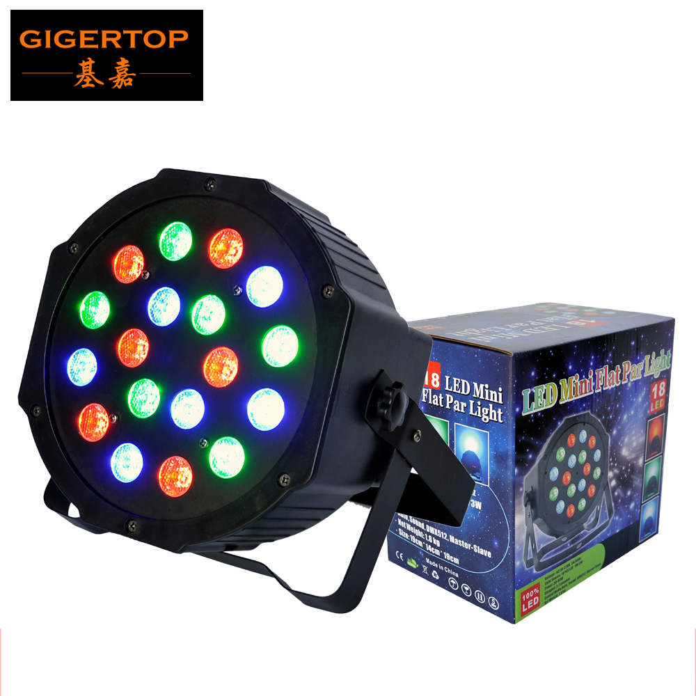 TIPTOP 18X3W RGB Stage Flat Led Par Light DMX512 3/6 Channels Real Power High Brightness Silent Cooling Fan Led Par 64 Tri Color cheap price tiptop plastic black 18x3w rgb single color led par light dual channels dmx512 sound mater slave mode linear dimmer