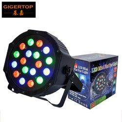 TIPTOP 18x3W RGB Stage Flat Led lampa Par DMX512 3/6 kanałów prawdziwa moc wysokiej jasności cichy wentylator chłodzący Led Par 64 trójkolorowy w Oświetlenie sceniczne od Lampy i oświetlenie na