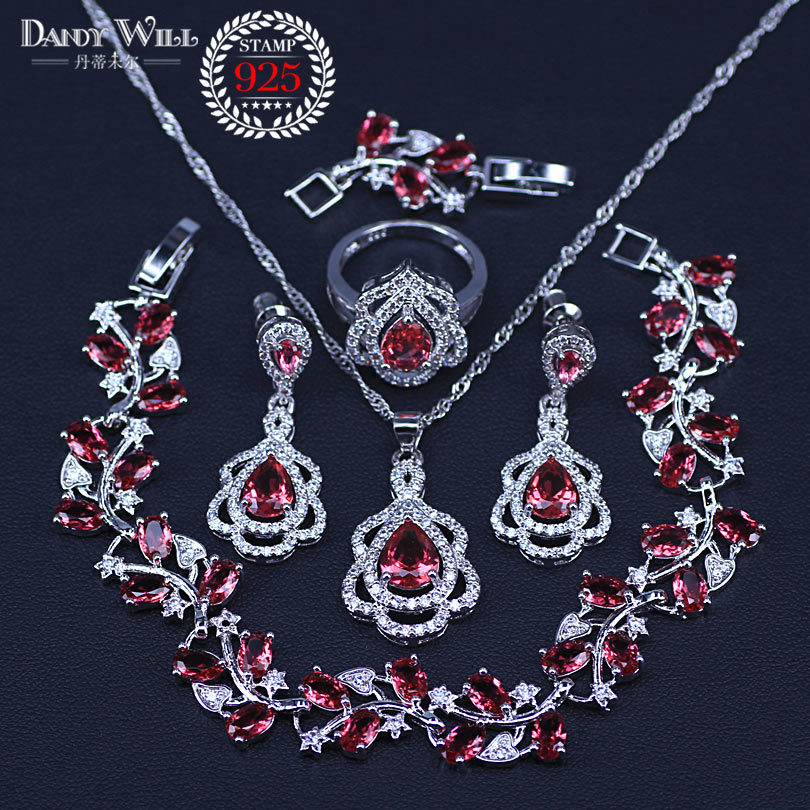Christmas Gift Pear Rose Red cubic zirconia silver 925 jewelry sets for women pendants necklace earrings rings Bracelets sets(China)