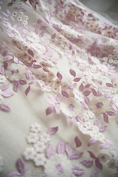 5 yards purple pink lace fabric in multi color purple floral pattern, mesh lace fabric in multi-colors floral