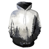 2018 New Fashion Autumn Winter Men Women Thin Sweatshirts With Hat 3d Print Trees Hooded Hoodies
