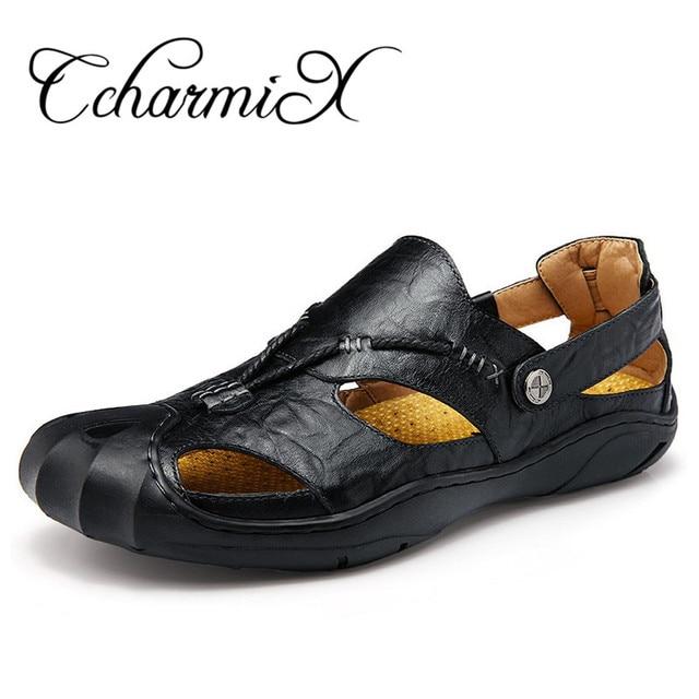 CcharmiX Brand Mens Fisherman Sandals High Quality Black Big Yards Mens  Footwear Outdoor Summer Dress Leather Man Sandles 3f567e750d3e