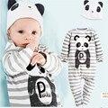 Baby boy девушка rompers 8 стиль хлопок мультфильм животных детская одежда с длинным рукавом комбинезон + шляпа костюм новорожденный ребенок костюм