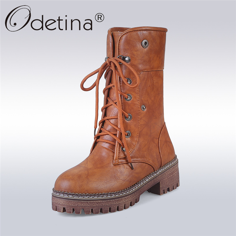 Odetina 2017 New Thick Plush Platform Mid Calf Boots Rounded Toes For Women Chunky Heel  Lace Up Short Boots Winter Warm Shoes double buckle cross straps mid calf boots
