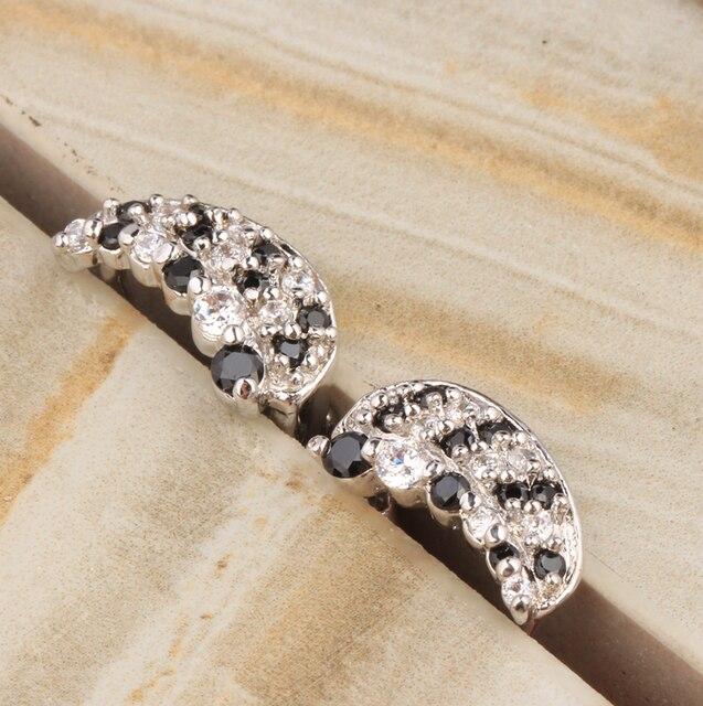 Moon Shape Black Onyx Fashion 925 Sterling Silver Clip Huggie Hoop Earrings For Women Free