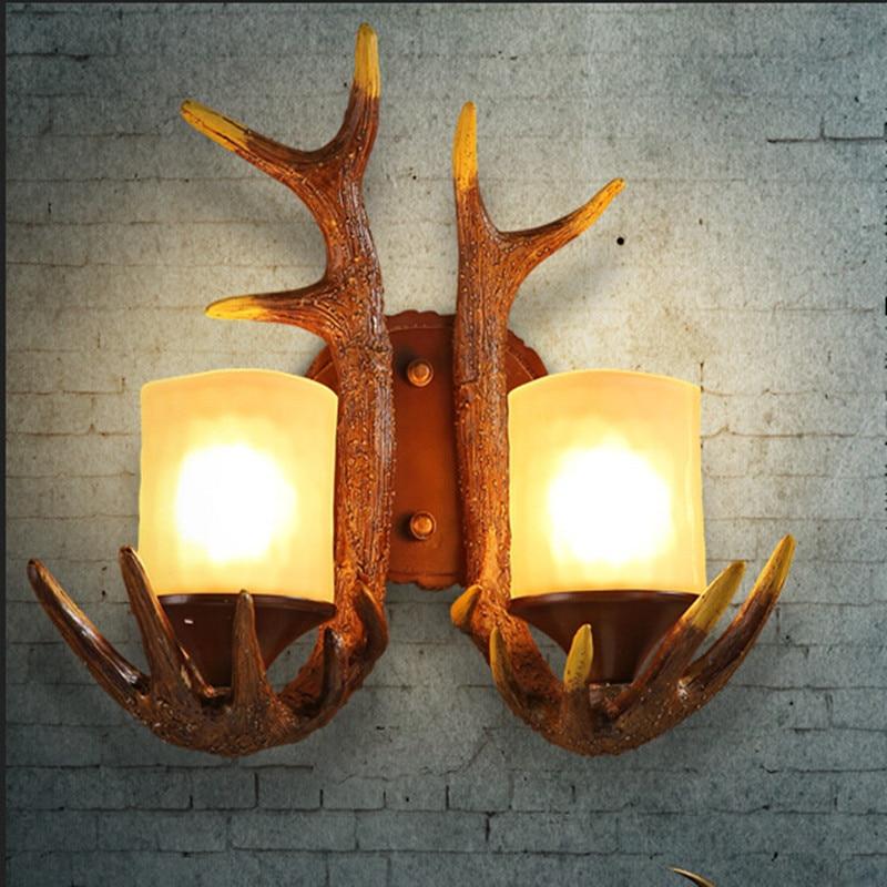 ФОТО NEW  Antique Antlers Rural Wall Lamp Art Design Style Corridor Hallway Creative Lights For Bar ClubRO132