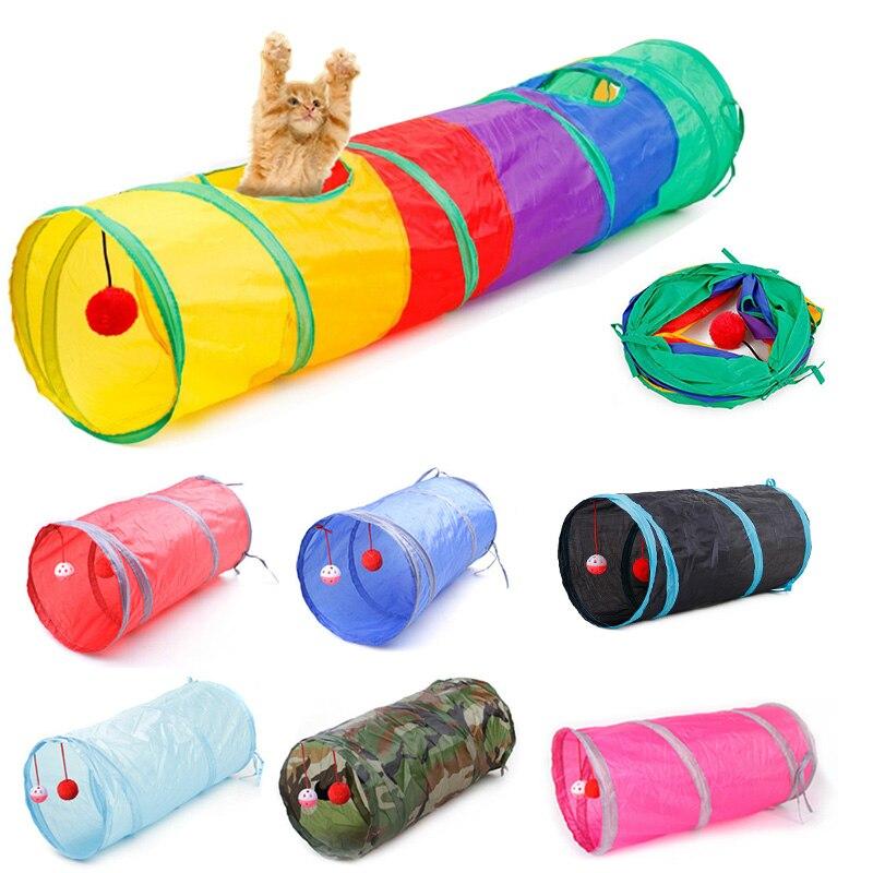 Туннель для домашних питомцев, забавная пещера 7 цветов, складной туннель для кошек с 2 отверстиями, игрушка для котят, кролик