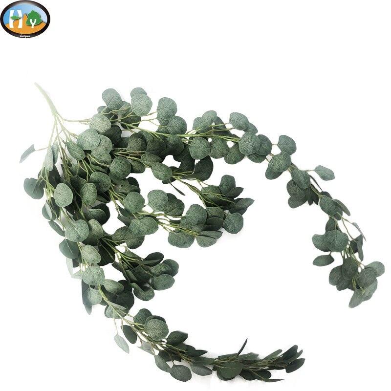 Artificial Fake Silk Leaf Eucalyptus Plastic Green Plant Garland Home Decor USA