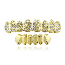 Hip Hop Gold Color Crystal Teeth Grillz For Women Men Dental Top Bottom Tooth Caps Grills Halloween Cosplay Party Mouth Jewelry