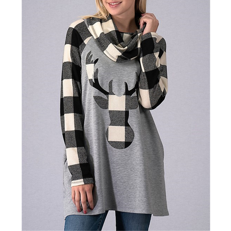Hoodie Sweatshirts For Girls 2018 Christmas Shirts Animal Elk Print Woman Sweater Minecraft Hoodie Yong Lady Scarf Sweater Women fringe detail geometric print sweater