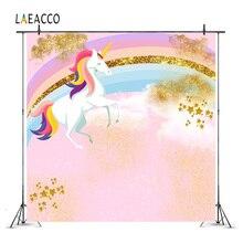Laeacco Cartoon Unicorn Party Baby Birthday Rainbow Photography Backgrounds Customized Photographic Backdrops For Photo Studio