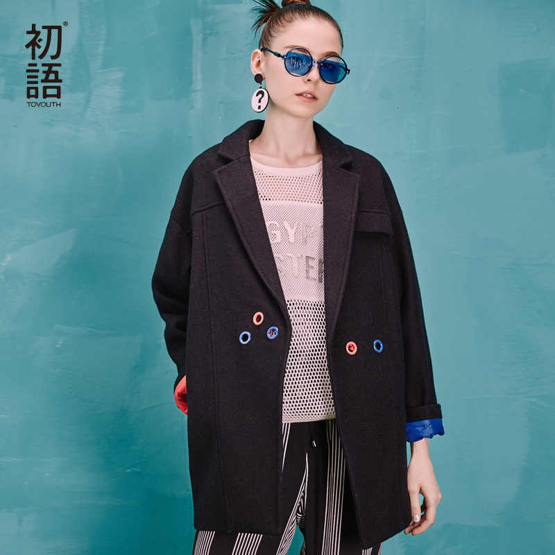Toyouth 2019 Autumn Winter New Blends Women Turn-Down Collar Medium Long Color Contrast Fashion Wool Outwears