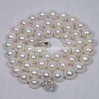 AA+ 9MM WHITE FRESHWATER PEARL NECKLACE SILVER Clasp Brand New!