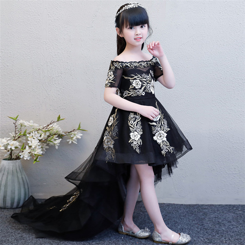 2018 New Luxury Children Girls Embroidery Flowers Princess Dresses For Party&wedding3~14 years Kids Black Model Show Tail Dress