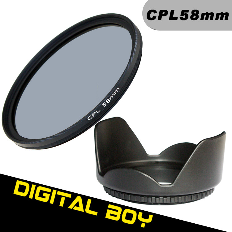 (2pcs/1lot)1pcs Digital Boy 58mm CPL C PL Lens Filter+58mm Lens Hood Filter kit for Cano ...