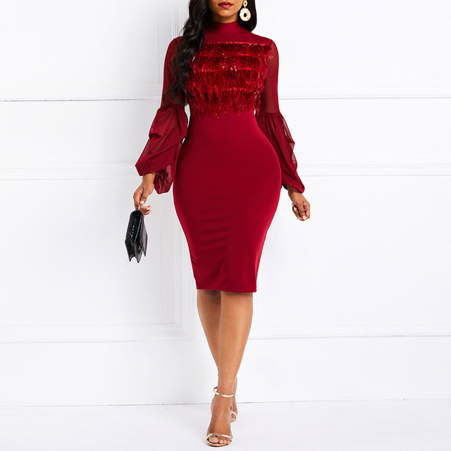 Clocolor Winter Dress Women Turtleneck Faux Fur Ruffles Long Sleeve Warm Elegant Lady Slim Mesh Sexy Retro Bodycon Party Dresses