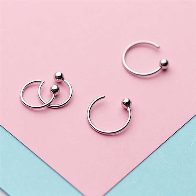 ROXI 새로운 진짜 925 스털링 실버 귀걸이 패션 작은 귀여운 8mm 10mm 라운드 비즈 후프 귀걸이 여자 쥬얼리 boucle d' oreille