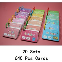 20 Books/Set 640Pcs Kids Chinese & English Flash Cards Early Education Baby Children Preschool Learning Cards