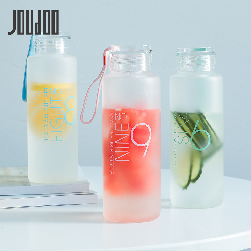 JOUDOO 300ml/400ml  Frosted Glass Water bottle Healthy Water Container Summer Lemon Water Bottle Drink Bottles Outdoor 47-in Water Bottles from Home & Garden on AliExpress