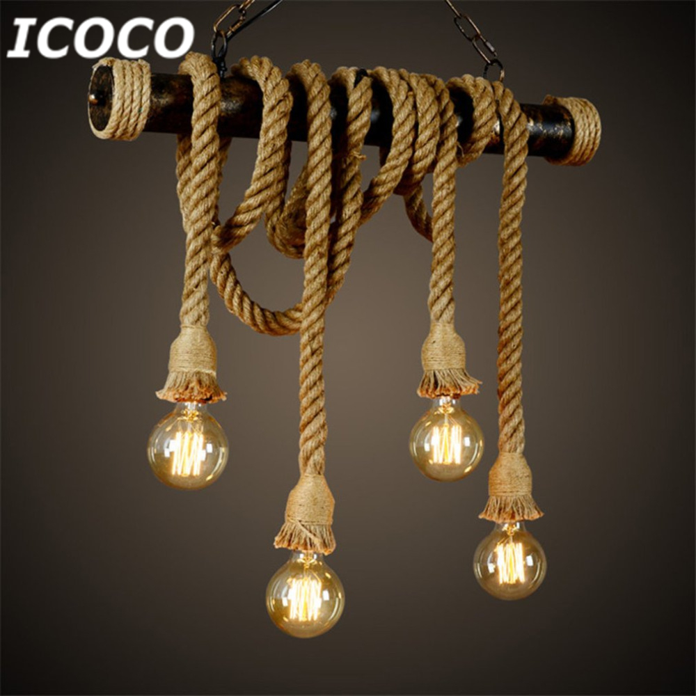 1pcs E27 Industrial Pendant Lamp Double Head Vintage Edison Rope Ceiling Home Restaurant Themed Decor Hemp Rope Drop Ship Sale